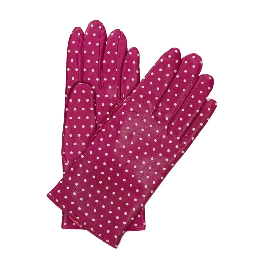 Rękawiczki damskie pięciopalcowe fuksja w kropki